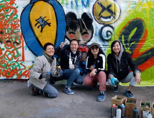 Бишкекскую галерею стрит-арта пополнили участницы мастер-класса по граффити